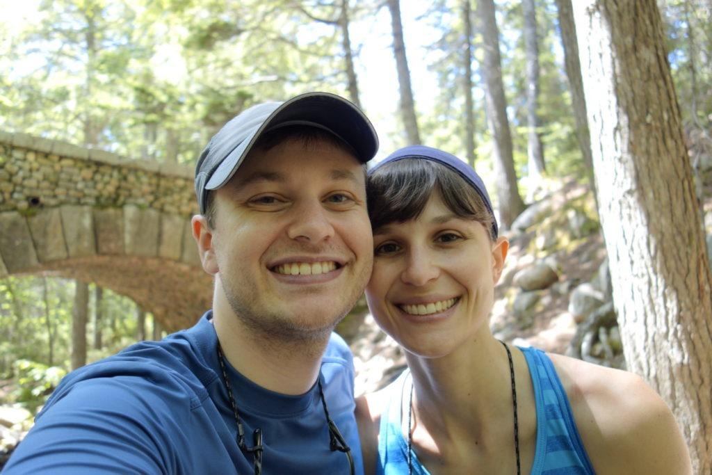 Acadia: Honeymoon selfie at Cobblestone Bridge