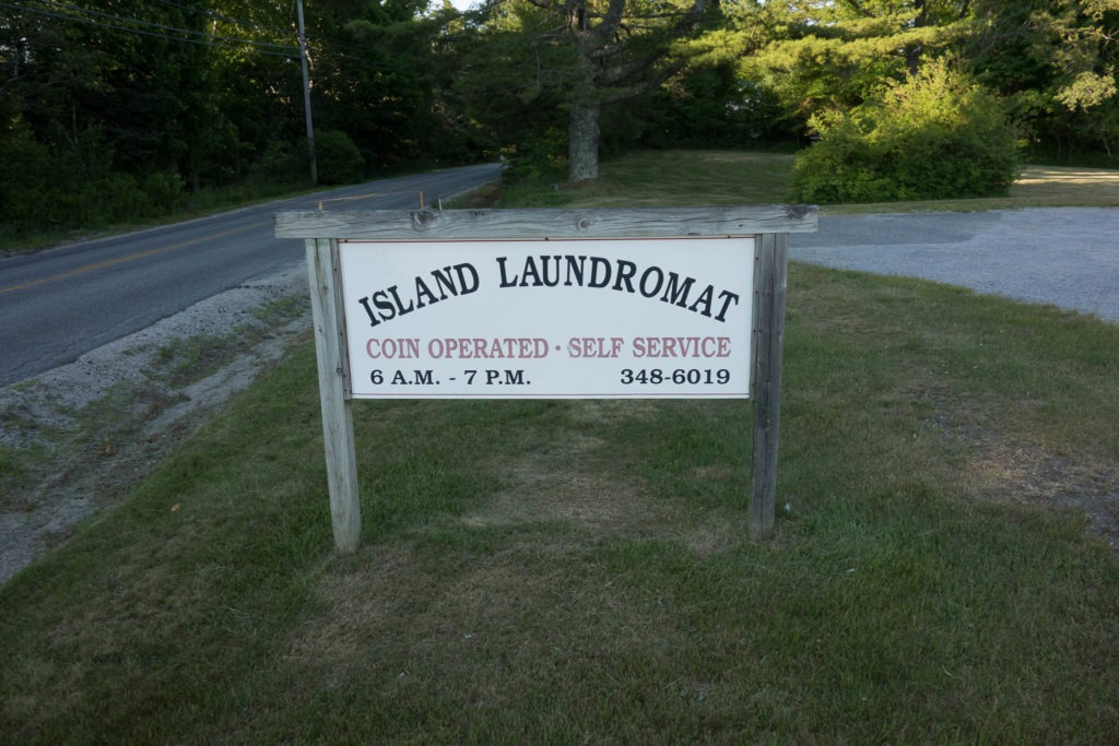 Acadia: Island Laundromat Sign in Stonington