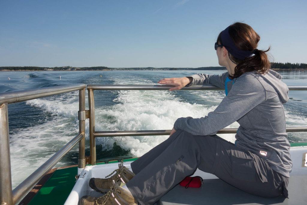 Acadia: K watching from Isle au Haut Mailboat