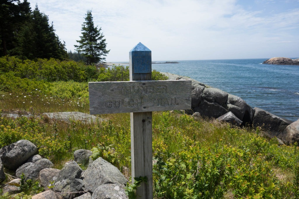 Acadia: Second Thunder Gulch Trailhead Sign