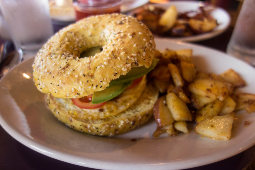Acadia: Avocado and egg bagel sandwich at Sips in Southwest Harbor