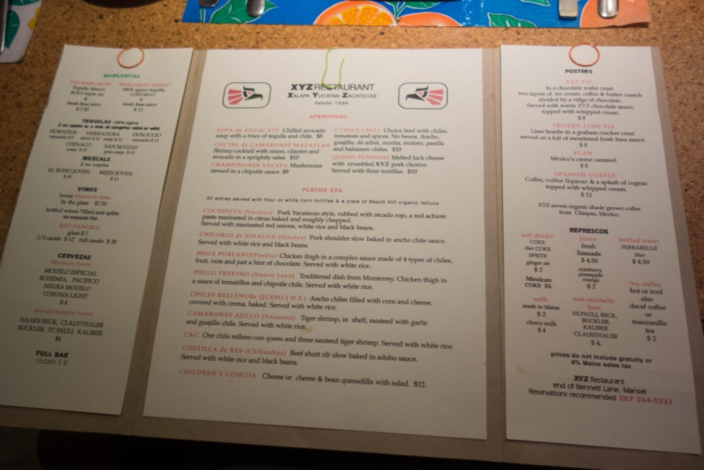 Acadia: XYZ Restaurant Menu in Southwest Harbor
