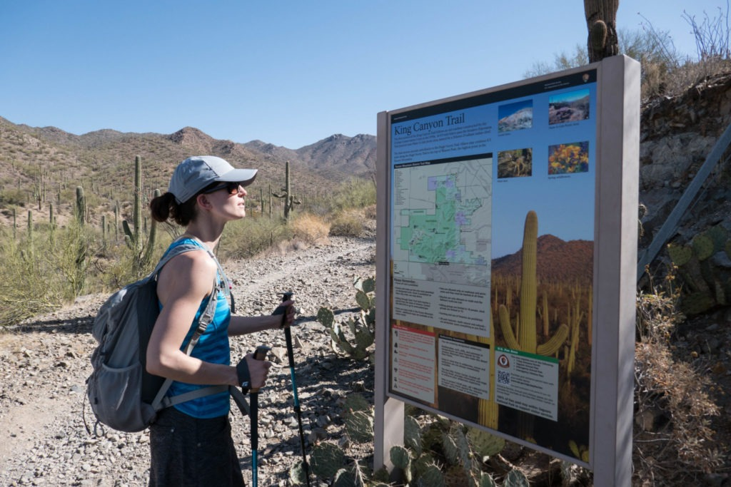 Saguaro: Kristin at King Canyon Trailhead Sign