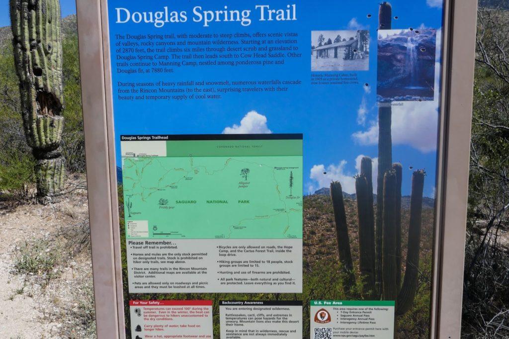 Saguaro: Douglas Spring Trailhead Sign