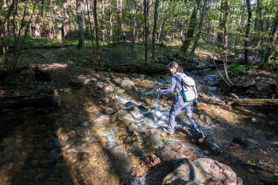 Shenandoah: Crossing Intermittent Stream on Rose River Loop Trail
