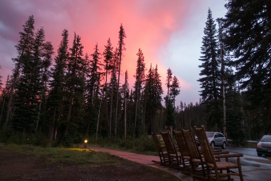 Crater Lake: Red Sky Mazama Campground After Hail