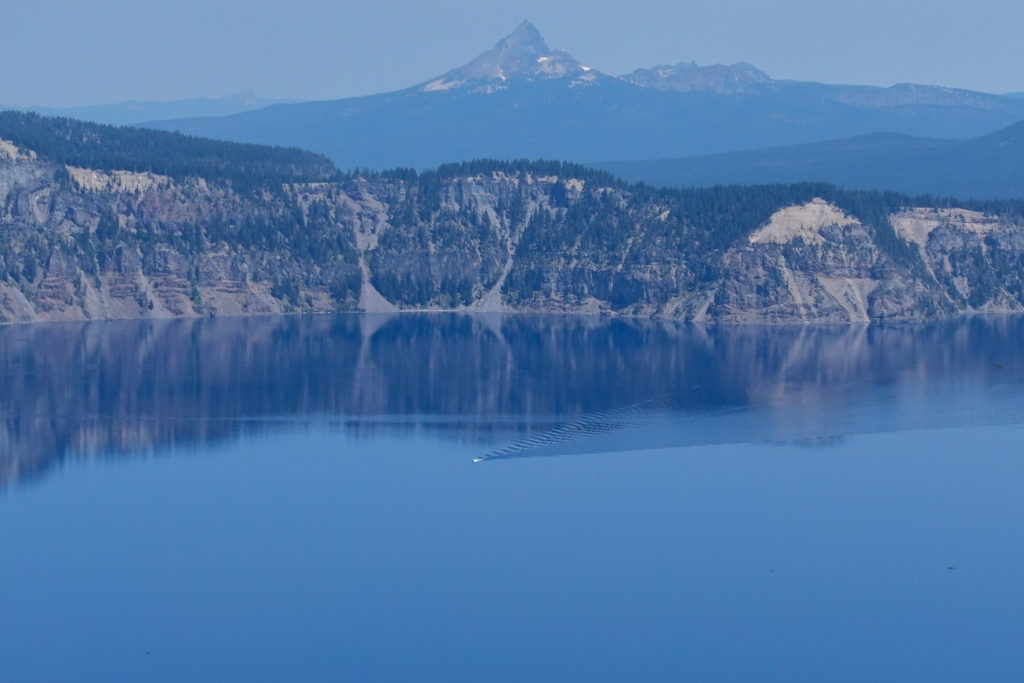 Crater Lake: Boat on Lake with Mt. Thielsen in background