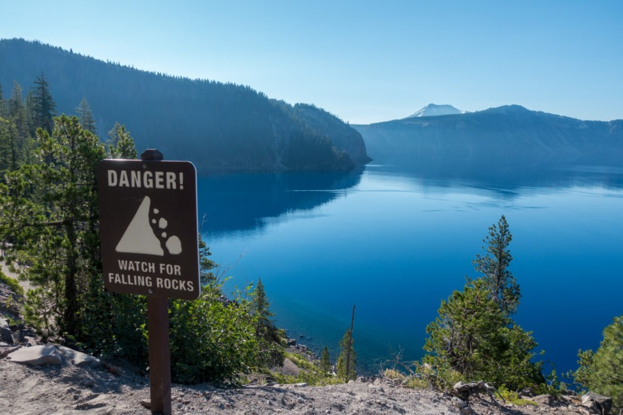 Crater Lake: Falling Rocks Warning Sign on Cleetwood Cove Trail