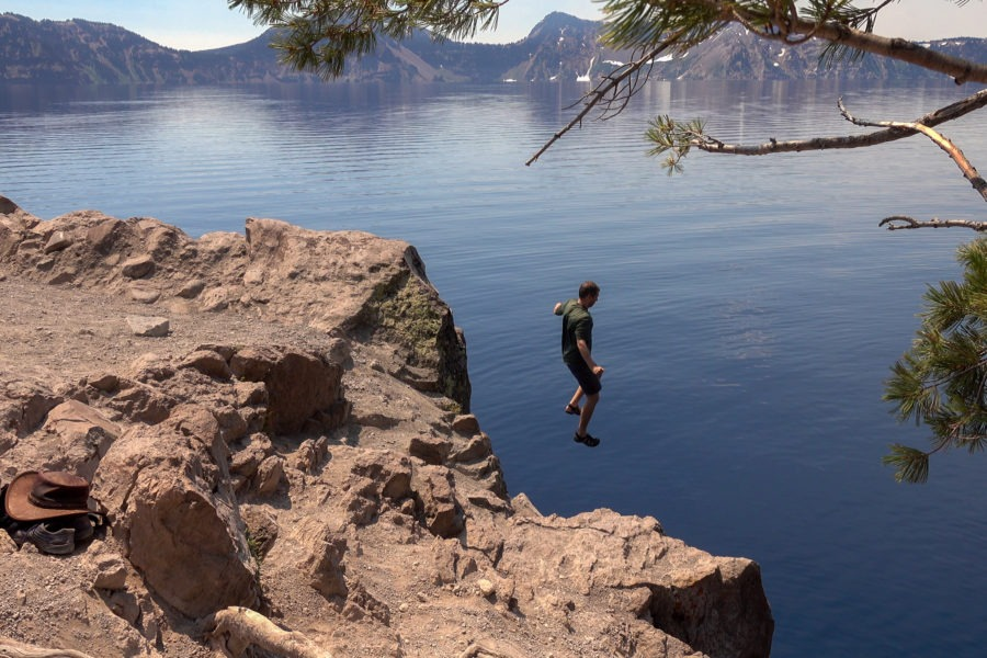 Crater Lake: Travis Jumping into the Lake