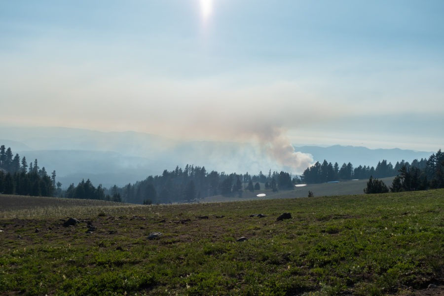 Crater Lake: View of Wildfire From Watchman Peak Parking Lot