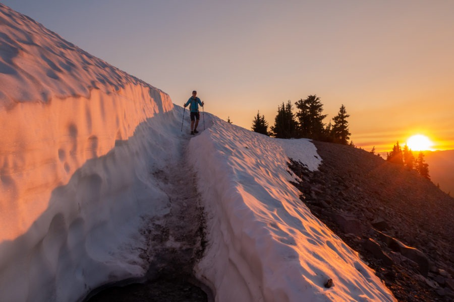 Crater Lake: Kristin Descending Through Snow on Watchman Peak