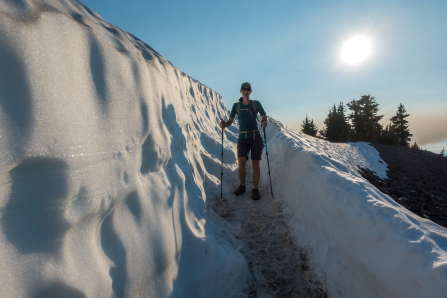 Crater Lake: Kristin Going Through the Snow on Watchman Peak Trail