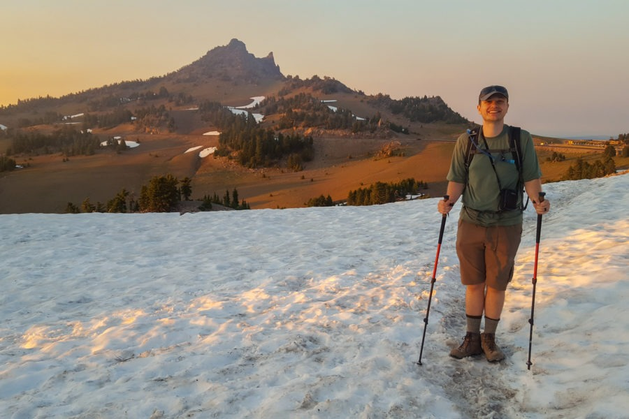 Crater Lake: Travis Standing on Snow