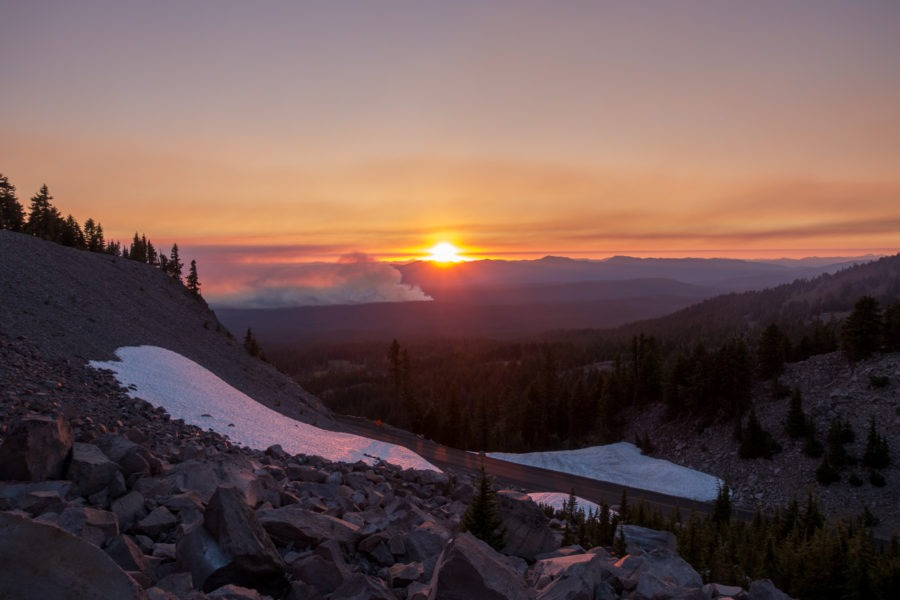 Crater Lake: Wildfire and Sunset on Watchman Peak