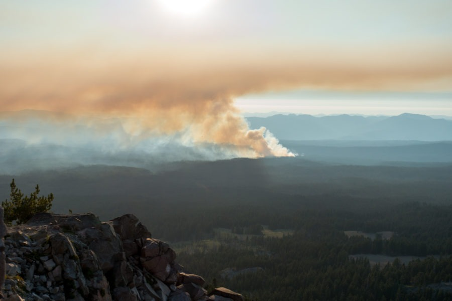 Crater Lake: View of Wildfire from Watchman Peak
