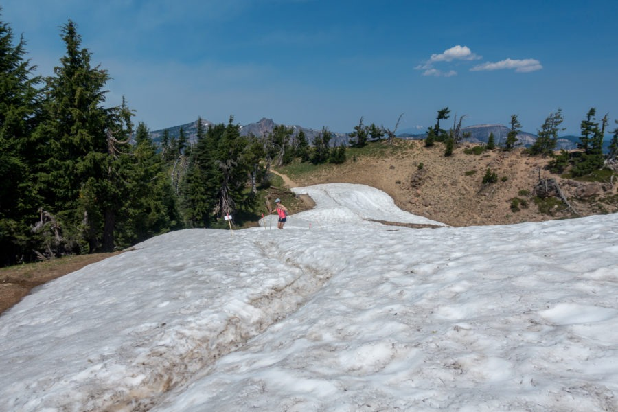 Crater Lake: Crossing a Snow Field in July on Garfield Peak Trail