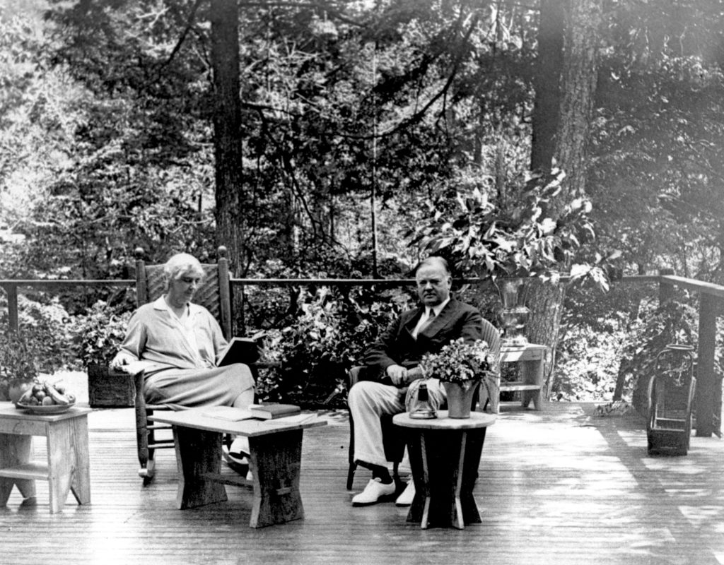 Shenandoah: Herbert and Lou Henry Hoover seated on a Porch at Rapidan Camp (NPS)
