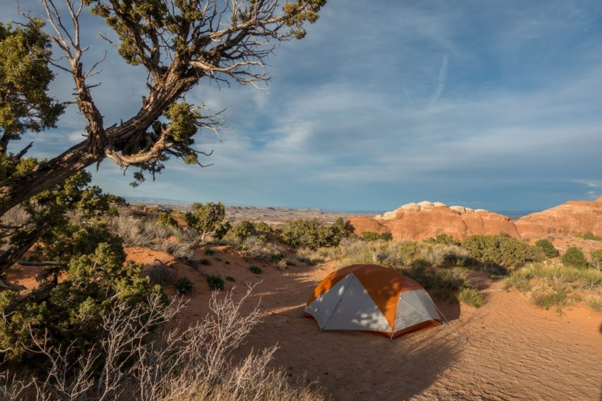 Arches: Our Tent at Site 24 in Devils Garden Campground