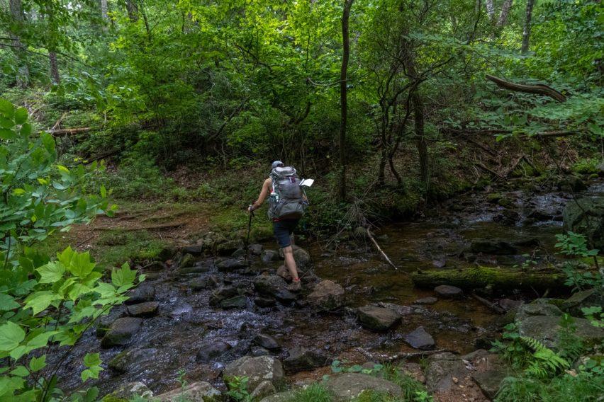 Shenandoah: Crossing Hazel River on Hazel Mountain Trail