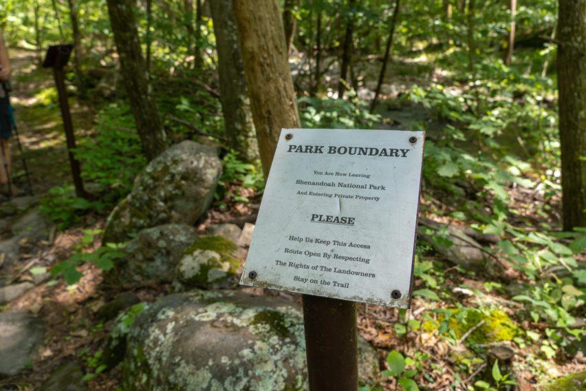 Shenandoah: Park Boundary on Nicholson Hollow Trail