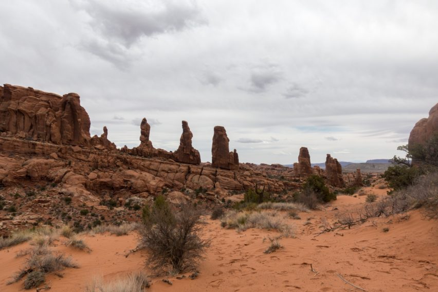 Arches: Marching Men Rock Formation along Tower Arch Trail