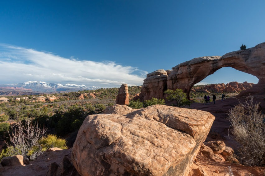 Arches: View of Broken Arch with La Sals