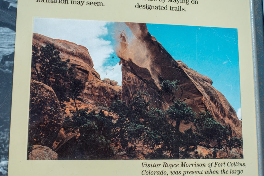 Arches: Landscape Arch Collapse From Informational Sign