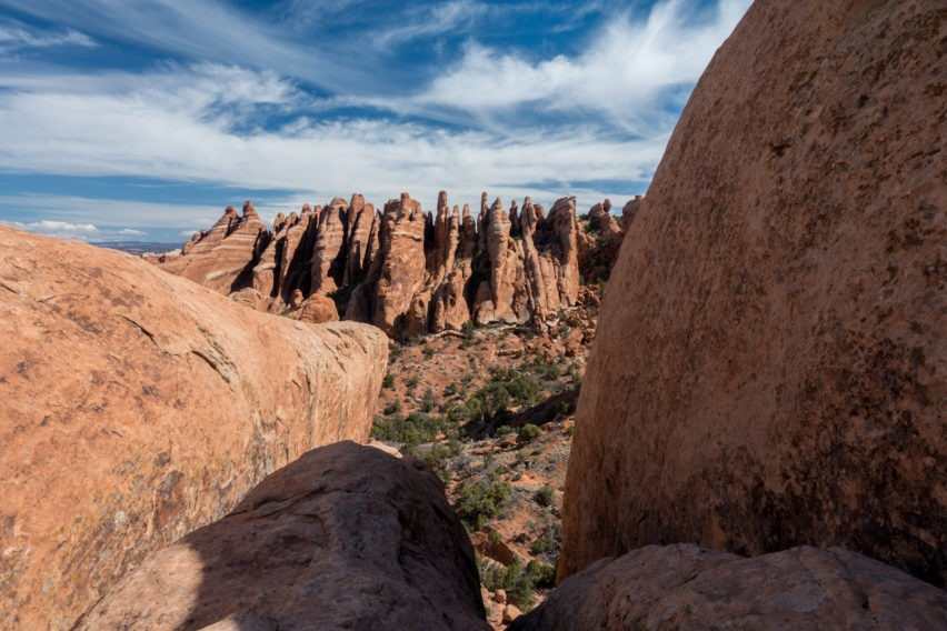 Arches: Looking Into the Fins at the End of Private Arch Trail