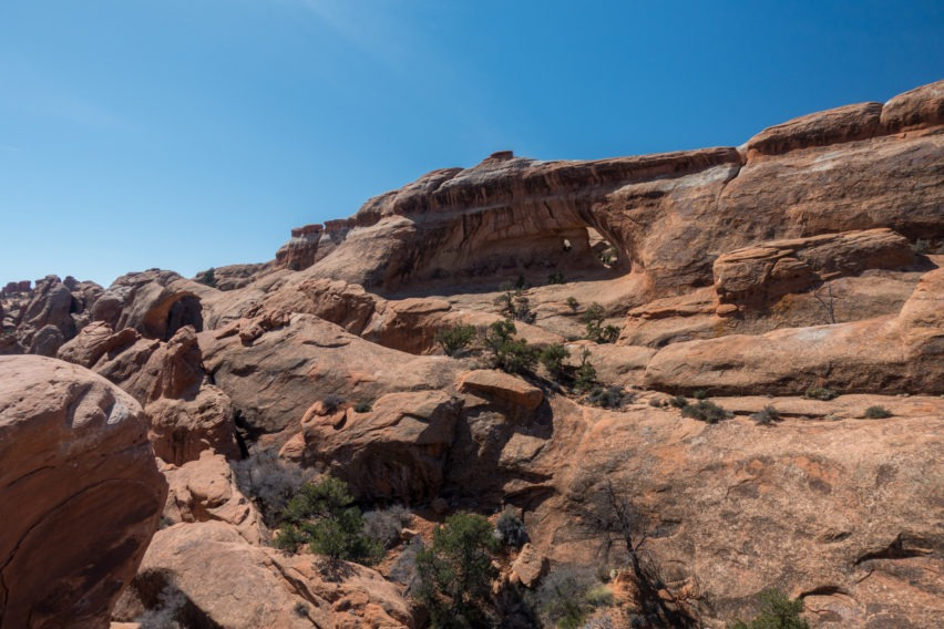 Arches: Far View of Partition Arch From Top of Sandstone Fin