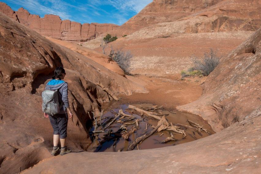 Arches: Crossing Water Hazard on Primitive Trail in Devils Garden