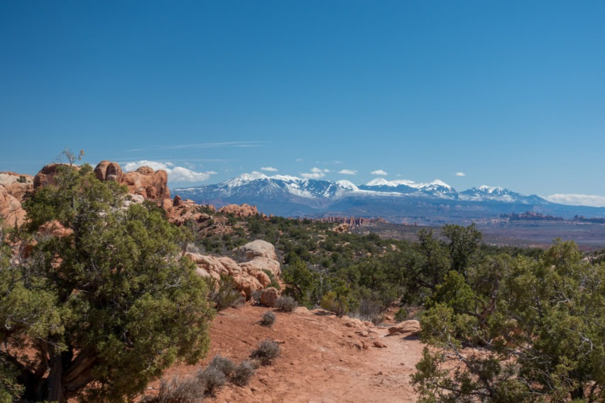 Arches: View of La Sals Heading Back on Dark Angel Trail