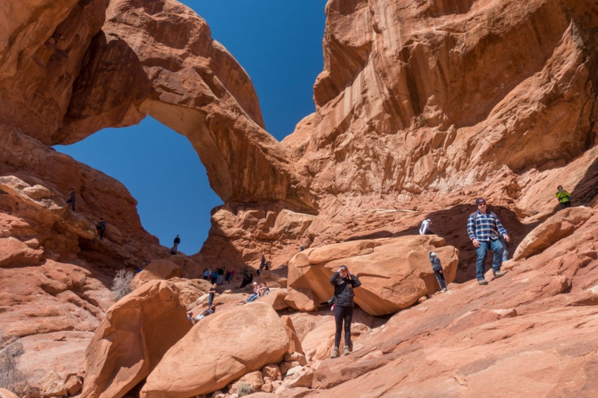 Arches: Rock Outcropping Behind Double Arch